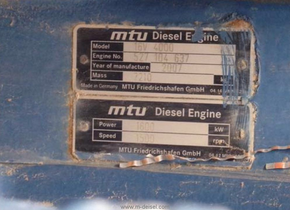 In-stock two sets used generator sets MTU 16V4000 527104637