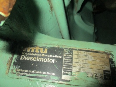 MTU 8V 396 Genset 1pc Serial no: 556738 590 kW 1500 rpm