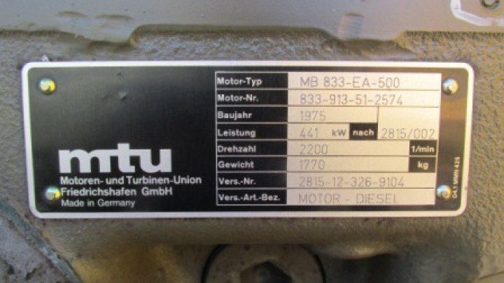 MTU 6V used diesel engine MB 833 EA-500 441 kW 600 HP